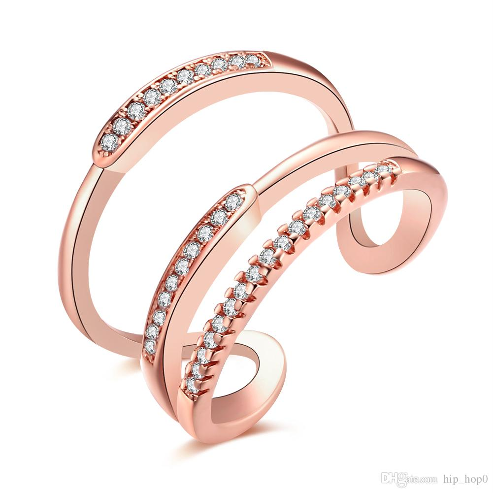 Women Elegant Ring Inlaid Stone Zirconia Jewelry Statement Fashion 18k Real Gold Plated Imitation Rhodium Two Color to Choice Opened Ring