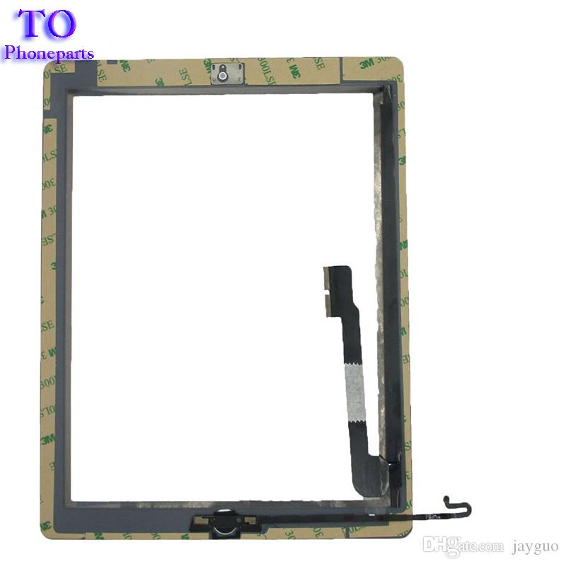 iPad 2 3 4 Touch Screen Digitizer Assembly in vetro con adesivo Home Colla Adesivo Parti di ricambio di ricambio Nero / Bianco