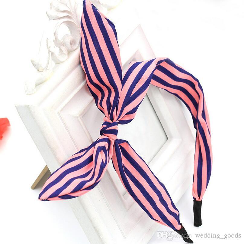 High quality Floral bow knot hairband fashion wave point rabbit ears hair card TG003 a