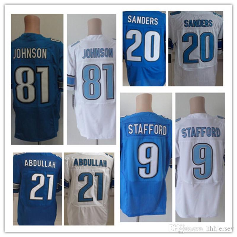 c08acb6e5 2017 MenS 9 Matthew Stafford 21 Ameer Abdullah 20 Barry Sanders 81 Johnson  Elite American Football ...
