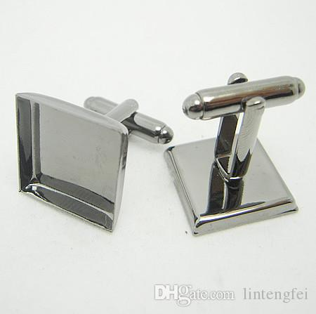 with 20mm Wholesale Silver Plated French Cufflink/Cuff links Blank Square Cameo Bezel Cabochon Setting Disc Tray