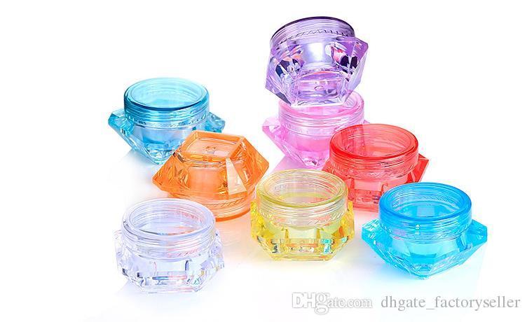 3g 5g forma di diamante colorato contenitori cosmetici vuoti tappo a vite contenitori di campioni vasetto di crema la cura della pelle vasetti di barattoli