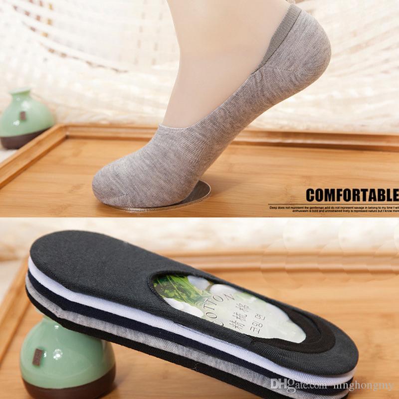 Fashion New Stealth da uomo traspirante calzino da barca in silicone bocca poco profonda antiscivolo in fibra di bambù solido puro i calzini di cotone spedizione gratuita