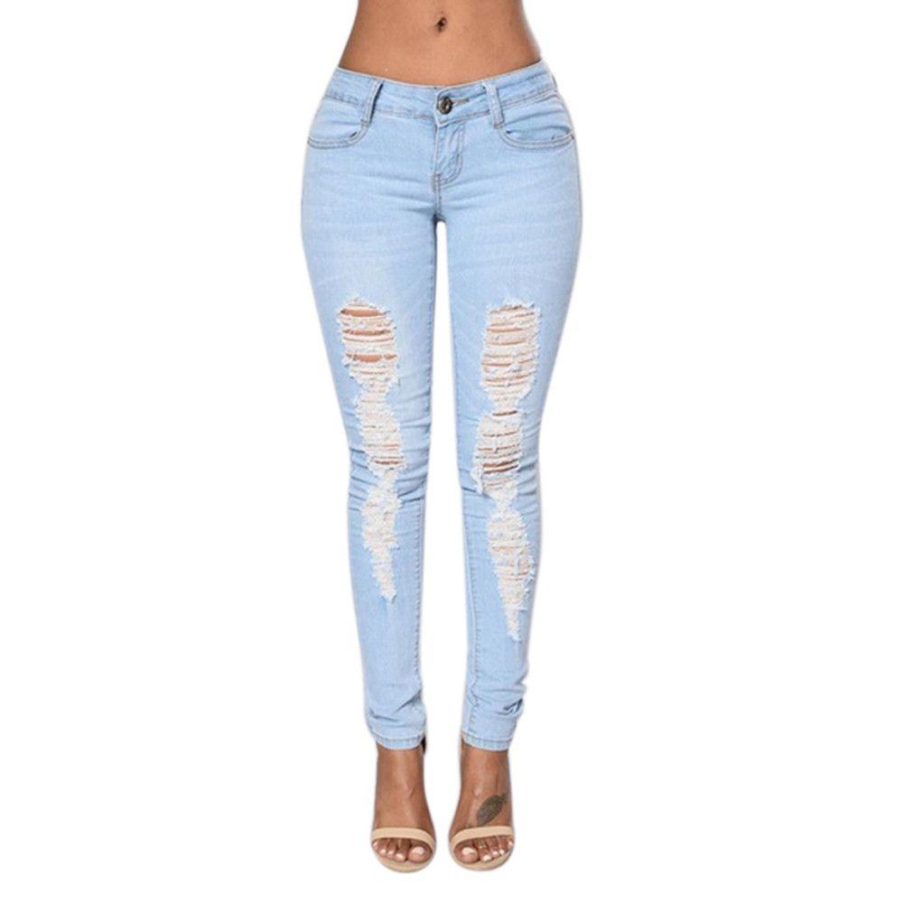 2017 2017 Fashion Ladies Casual Denim Pants Women Stretch Bleach ...