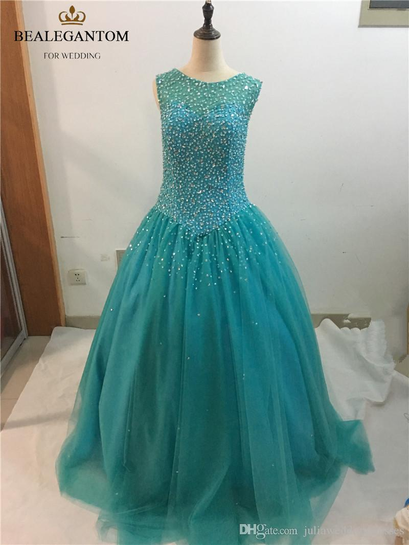 2017 Fashion Scoop Crystal Ball Gown Quinceanera Dresses with Sequined Beading Tulle Plus Size Sweet 16 Dresses Vestido Debutante Gowns BQ20