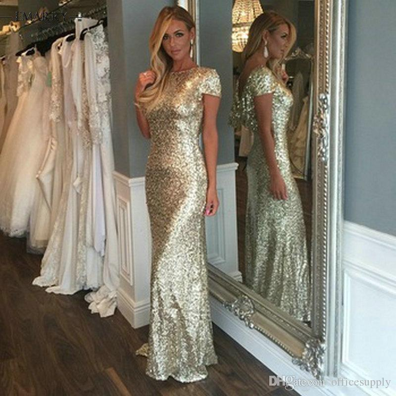 Champagne Gold Sequins Long Bridesmaid Dresses 2021 Sparkly Short Sleeve Backless Wedding Junior Party Gowns Maid of Honor Dresses