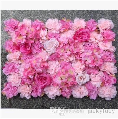 10 pçs / lote 60x40cm romântico artificial rosa hortênsia parede parede para festa de casamento e decoração de cenário muitas cores