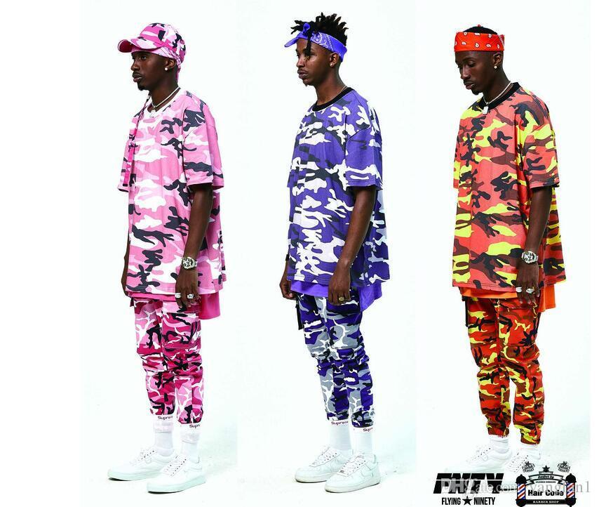 FLYING NINETY Latest TOP camouflage camo KANYE WEST   FNTY oversized men  joggers pants hip hop 010bd975dc6