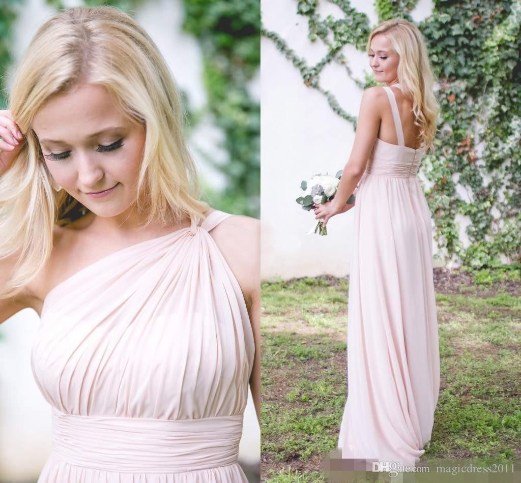 Country Bridesmaid Dresses 2019 Pink One Shoulder Chiffon Floor Length Maid Of Honor Evening Party Gowns Cheap Hot Sale