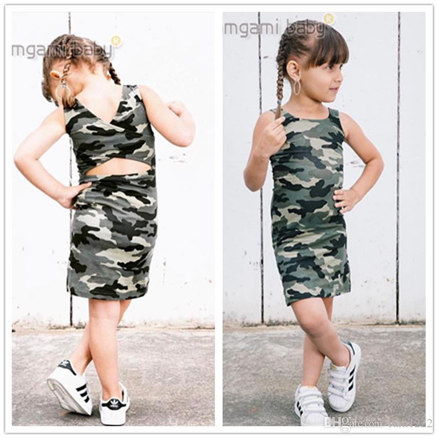 b758a2c90 2019 New Sundress Girls Camouflage Dress Baby Kids Cross Back Design ...