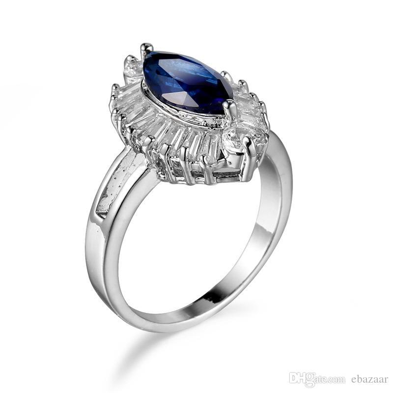 Joyería de regalo Zafiro Diamonique Cz Anillo de compromiso de boda chapado en oro Sz6-10
