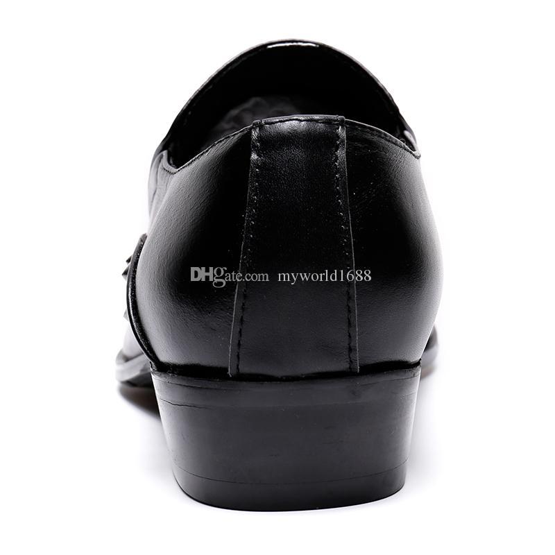 Британский бизнес Стиль Мужские ботинки платья заклепок Zapatillas Hombre шипованных Черная кожа Sapato Chaussure Homme