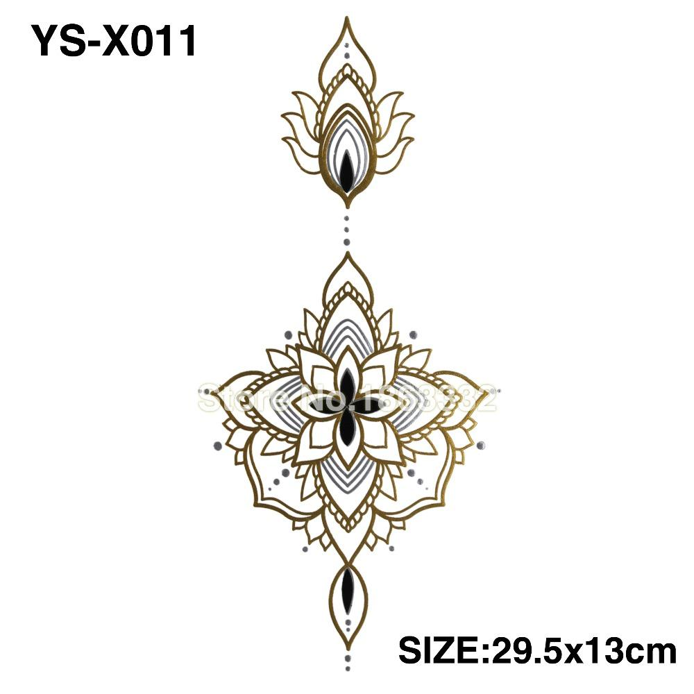 Wholesale ys x011 gold diy chest flowers big tattoo stickers colorful hot flashes waterproof tatoo body art temporary tattoo sticker temporary tattoo london