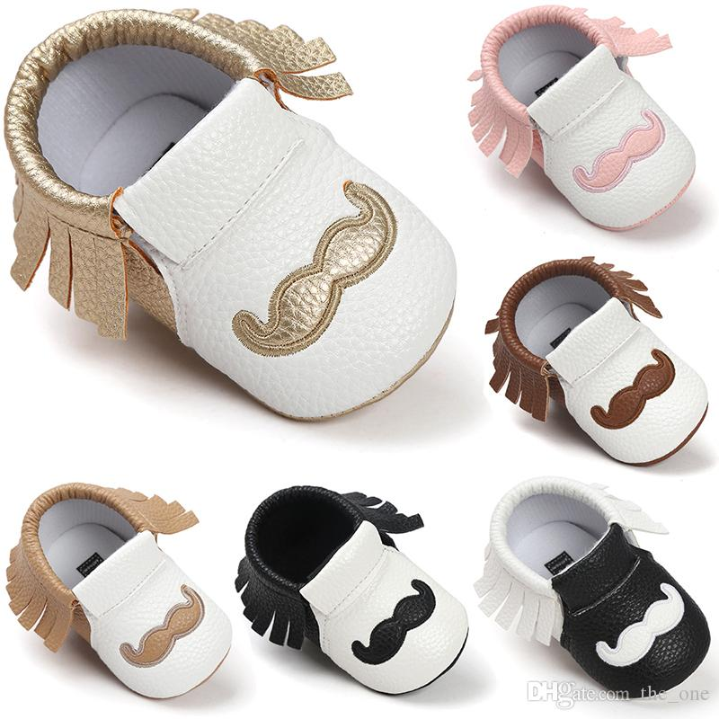 b54537a196d4d cute tassel PU Leather Baby Shoes Baby Moccasins Newborn Shoes Soft Infants  Crib Shoes Sneakers beard mustache print First Walker for kid