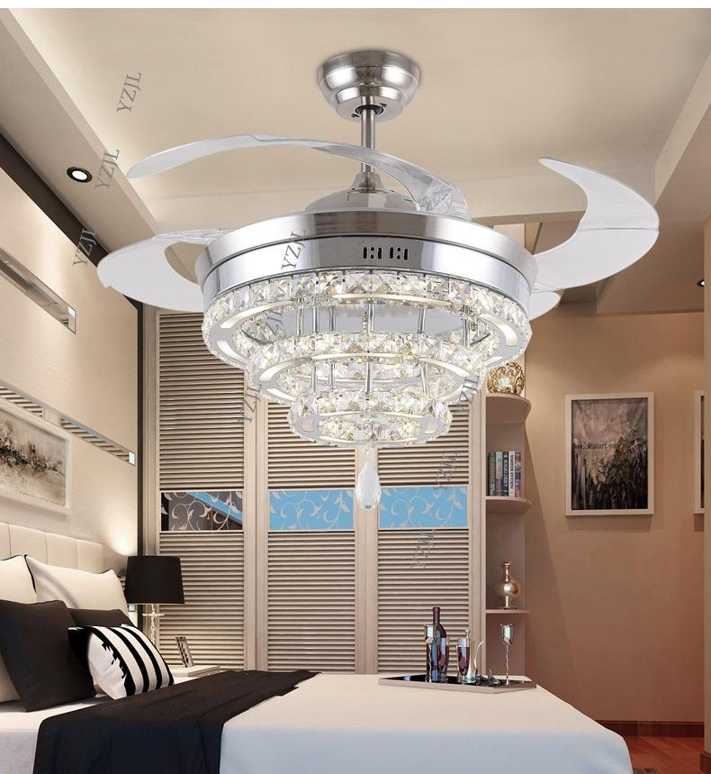 LED invisible K9 ceiling crystal fan light restaurant fans lamp ceiling living room minimal modern fashion fan lights 42inch