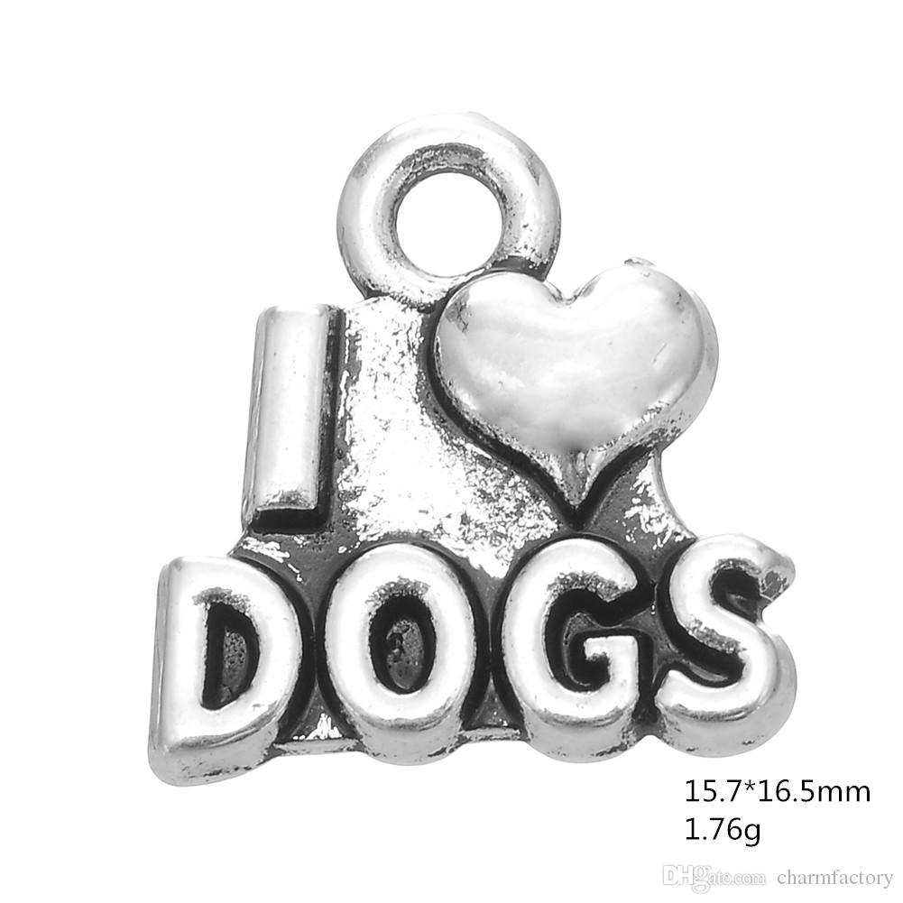 AMO PERROS con corazón Mensaje Charm DIY NecklaceBracelet joyería plateada plata antigua de la manera /