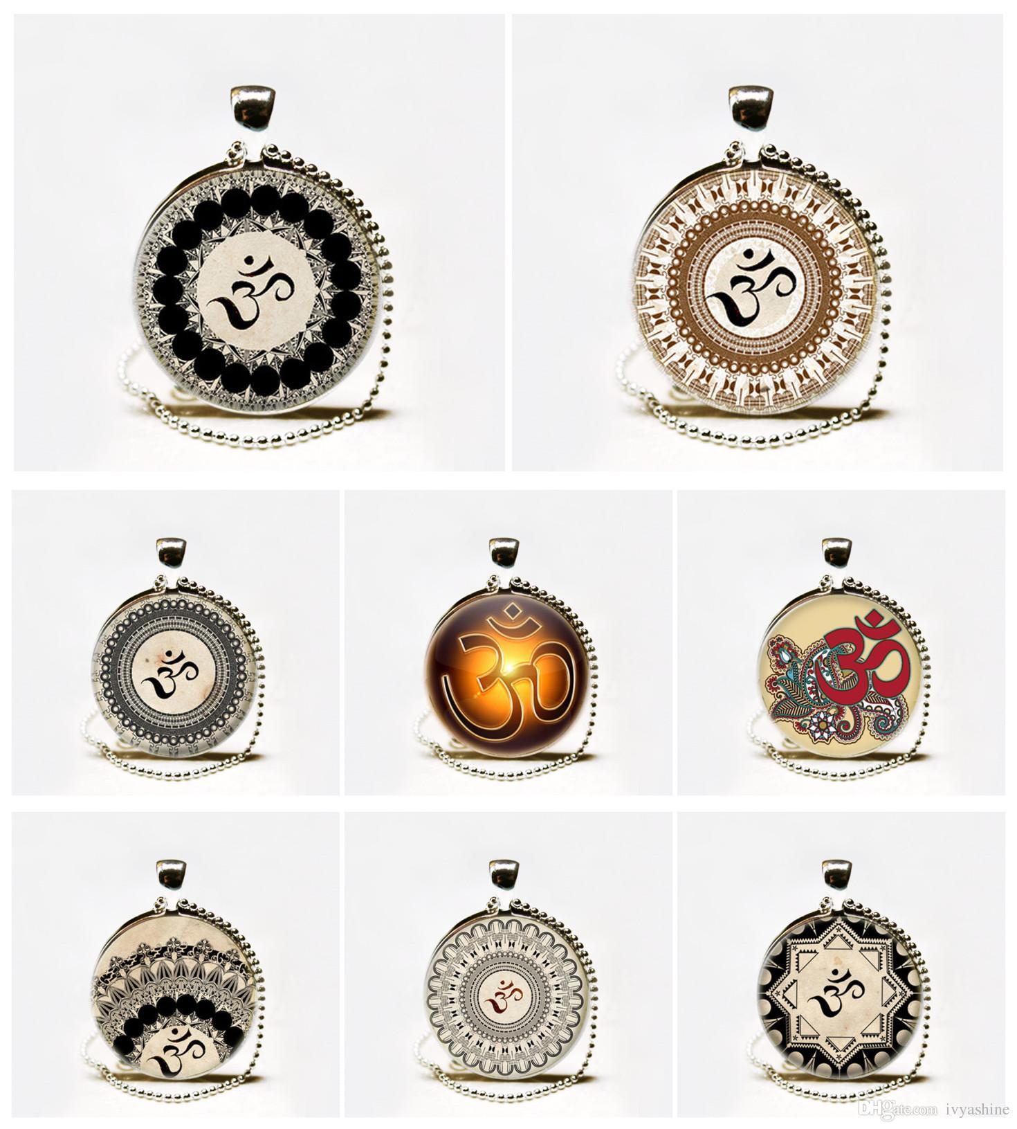 Hot Glass Dome Jewelry Om Necklace Yoga Jewelry Om Symbolbuddhism