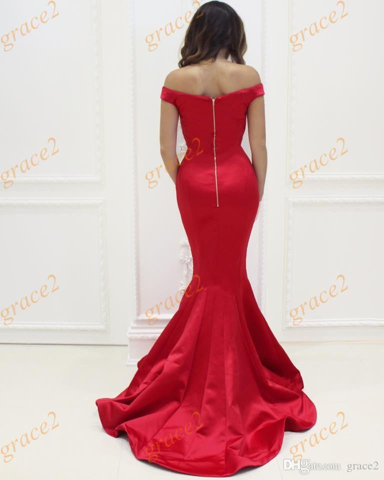 Mermaid Prom Dresses 2017 with Off the Shoulder and Zipper Back Real Model Hot Red Satin Elegant Formal Evening Dress Sweep Train