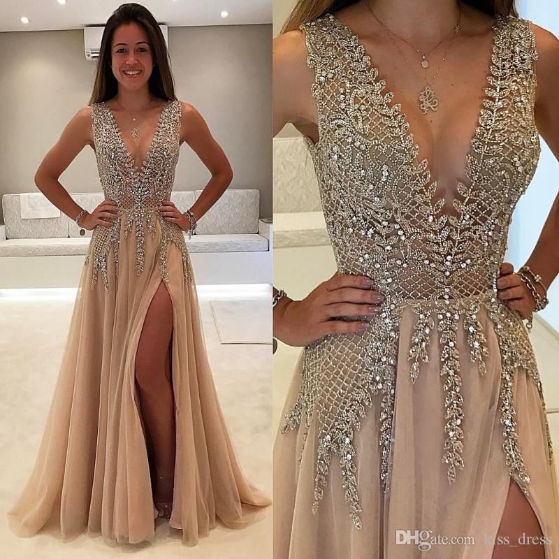 Champagne Sexy Side Split Prom Dresses 2019 Luxury Beads Crystal A-Line Deep V-Neck Backless Formal Evening Party Gowns Fashionable P271