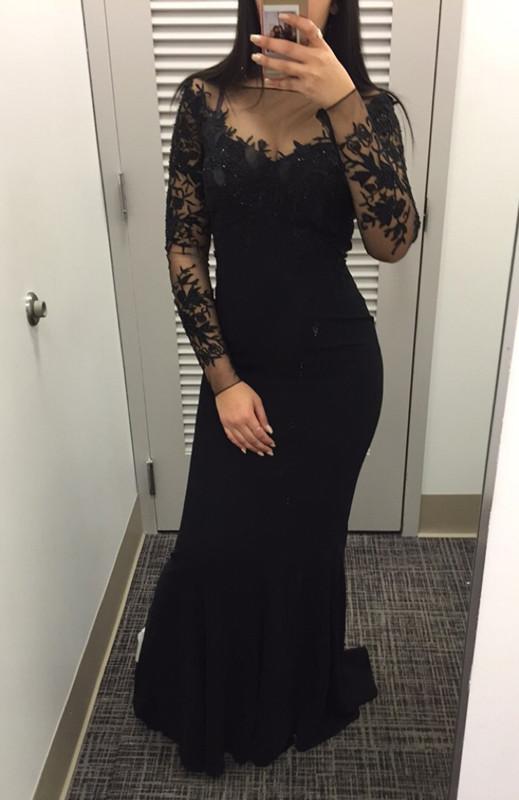 Großhandel 2017 Sexy Black Ballkleider Mermaid Lange Ärmel Kleider ...