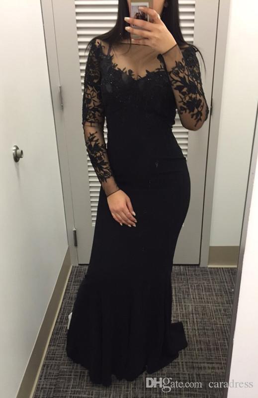 2017 Sexy Black Prom Dresses Mermaid Long Sleeves Dresses Women ...