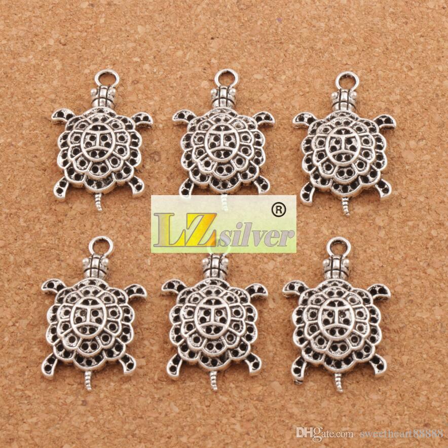 Animal 3D tortue de mer tortue en alliage charmes / pendentif en argent tibétain 34 mm L1181 bijoux bricolage
