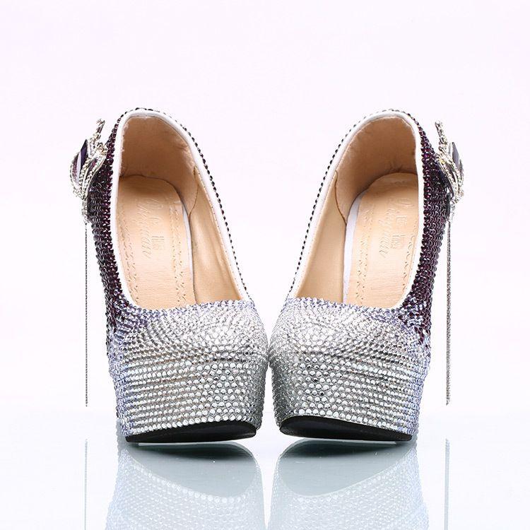Wholesale Silver Plum Tassel Cinderella Shoes Prom Evening High Heels Beading Rhinestones Bridal Bridesmaid Hand-made Wedding Shoes