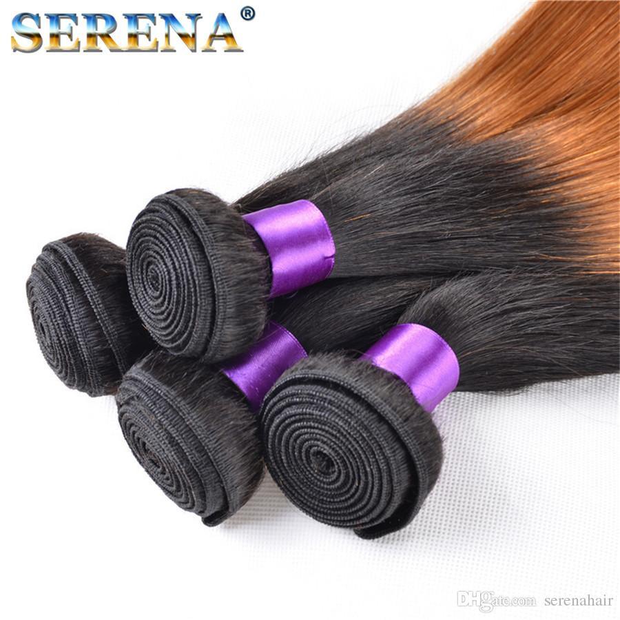 Nuovo arrivo colore radice scura 1b 30 # miele biondo ombre estensioni dei capelli lisci vergine brasiliana due tonalità tessitura dei capelli umani trama Ombre Tessuto
