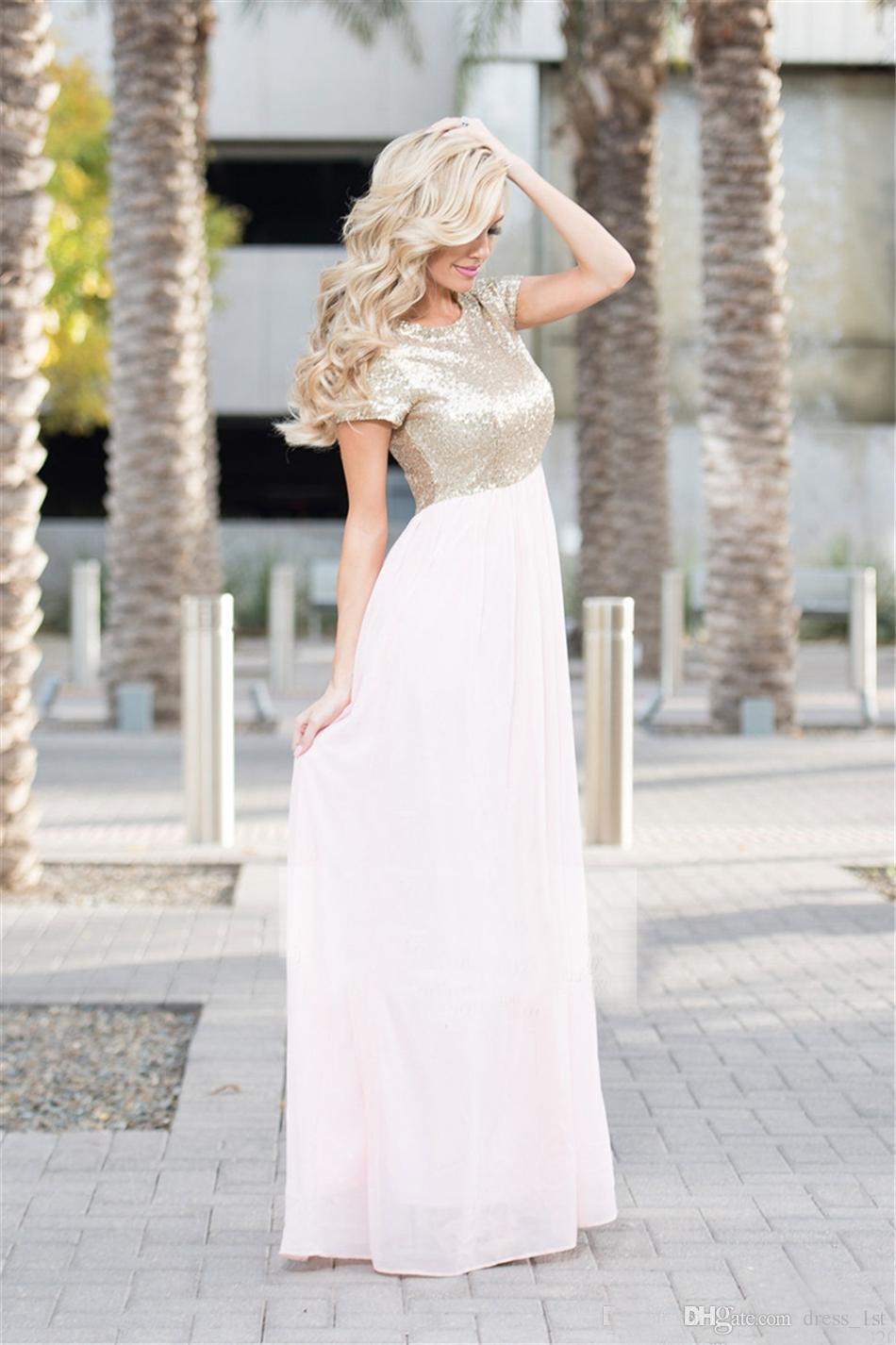 Popular 2017 Light Gold Sequin Top Light Pink Chiffon Bridesmaid Dresses Long Cheap Short Sleeve Floor Length Maid Of Honor Gowns EN3042