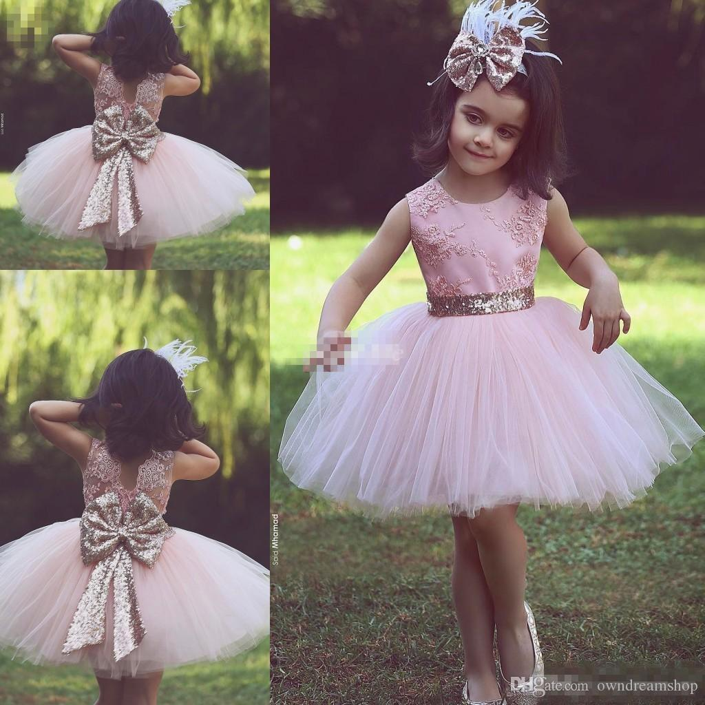 Cute Pink Short Flower Girl Dresses For Country Wedding Party Bog Sequined  Bow Tutu Crew Neck Lace Baby Child Birthday Formal Dresses 2017 Girl Dresses  For ...