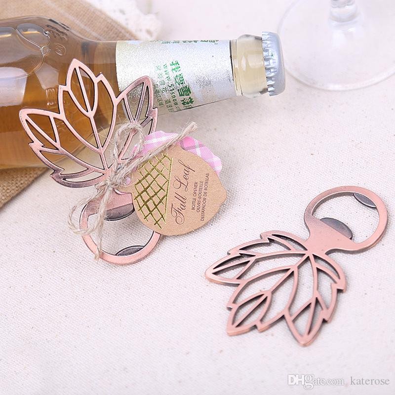 Copper Leaf Bottle Opener Autumn Themed Wedding Favors Bridal Shower Bar Party Giveaway Gift For Guest