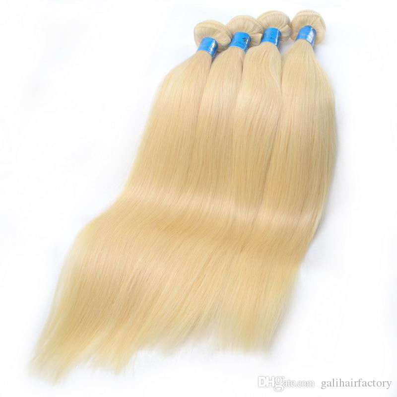 8A High Quality Brazilian Blonde Straight Hair Weave 100% Human Hair Blonde 613# Color Double Weft No Shedding Tangle Free Can Be dyed