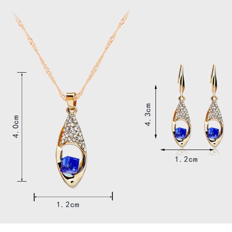 Kristall Diamant Engel Tränen Tropfen Halskette Ohrringe Sets Gold Kette Halskette für Frauen Mode Hochzeit Schmuck Werden und Sandy DROPSHIP 162050