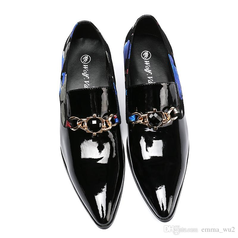 Italian Brand Style Real Leather Men Dress Shoes Meatal Buckle Loafers Handmade Smoking Slippers Wedding and Prom Shoes Big Size