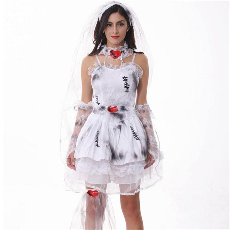 Halloween Bride.Halloween Costumes Women Bride Character Cosplay Costume Lace Chiffon Dress Lady Performance Costumes Hallowmas Party Supplies