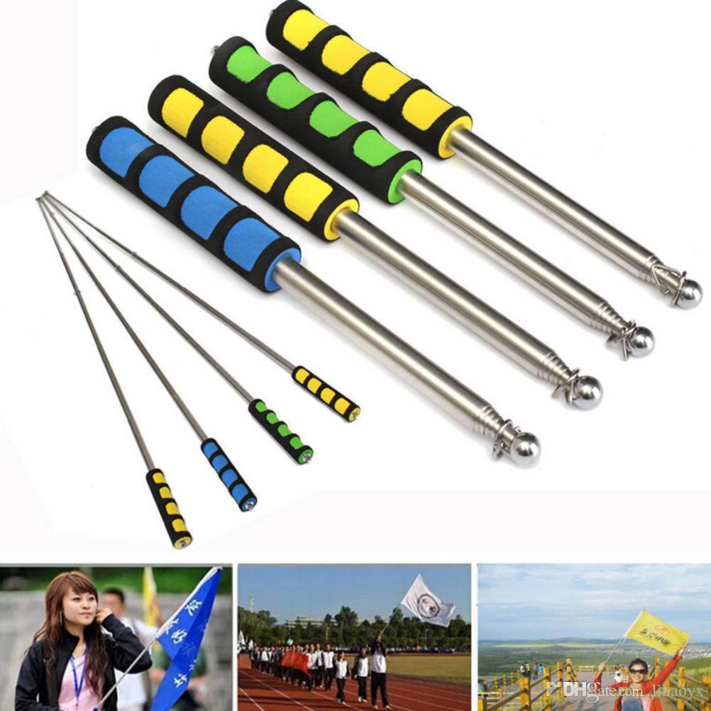 1.6 Meters Outdoor Flagpole Stainless Steel Telescopic Flag Pole for Teaching Pointer Tour Guide Banner Flagstaff Decoration c231