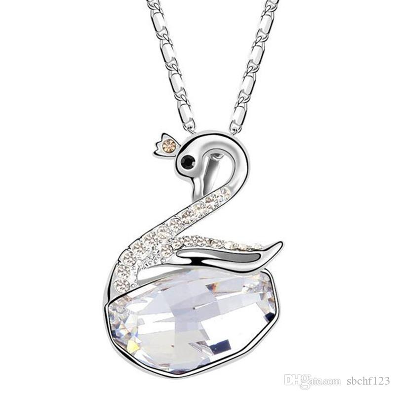 58db6368a657 Wholesale Korea Trendy Jewelry Crystal From Swarovski Elements Exquisite Swan  Necklace Pendants Fashion Jewelry For Women 5536 Silver Chain Silver  Jewellery ...