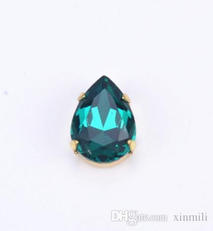 10x14mm tear/waterdrop highest quality K9 sew on stones crystal beads with gold claw noany scratch dirty