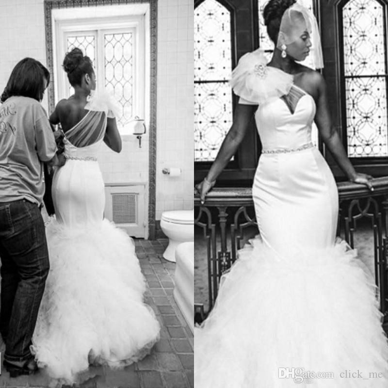 Vintage African Wedding Dresses With Sheer Neck One Shoulder Ruffles Plus Size Wedding Dress Sash Beads Arabic Black Girl Bridal Gowns