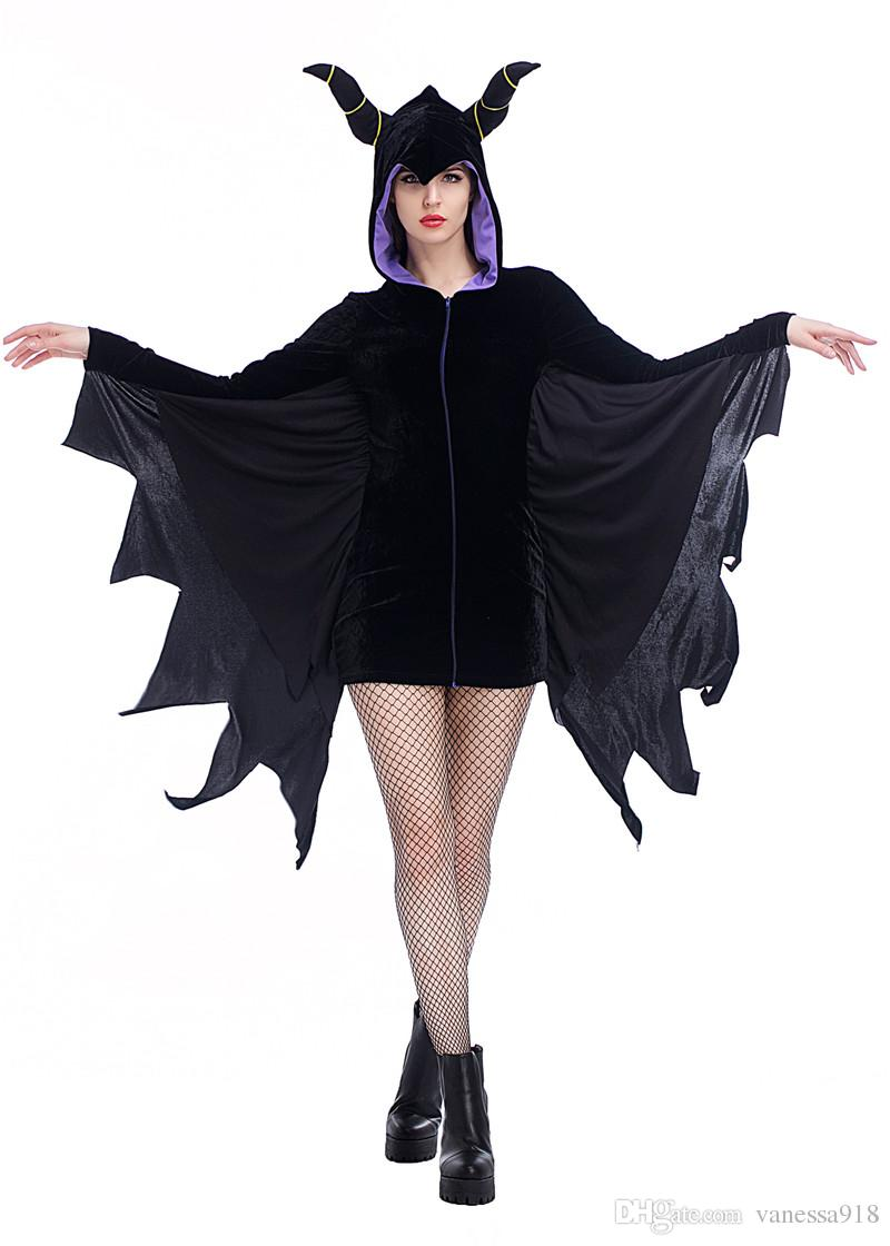 Halloween Cosplay Black Angel Costumes sexy Evil bat Dress Vampire Queen party performance Masque show Clothes wholesale PS005