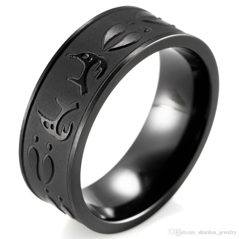 silhouette mens landscape band fishing wolves tungsten wholesale carbide lovers engraved for black shardon scene wolf animal size flat rings wedding outdoor anillos ring bague item fisherman