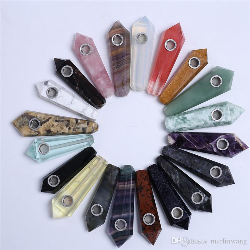 HJT Wholesale Cheap Mixed Gemstone Quartz Crystal Smoking Pipes Healing Wands Tobacco Pipes Reiki smoking !!
