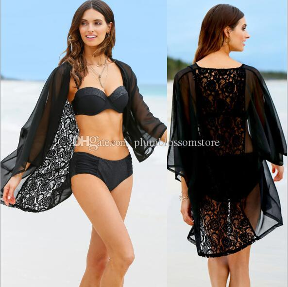 63f35eea80 2019 Beach Bikini Cover Ups Lace Hollow Long Cardigan Blouses Summer Women  Chiffon Loose Sunscreen Swimwear Shirts Seaside Holiday Tops Beachwear From  ...