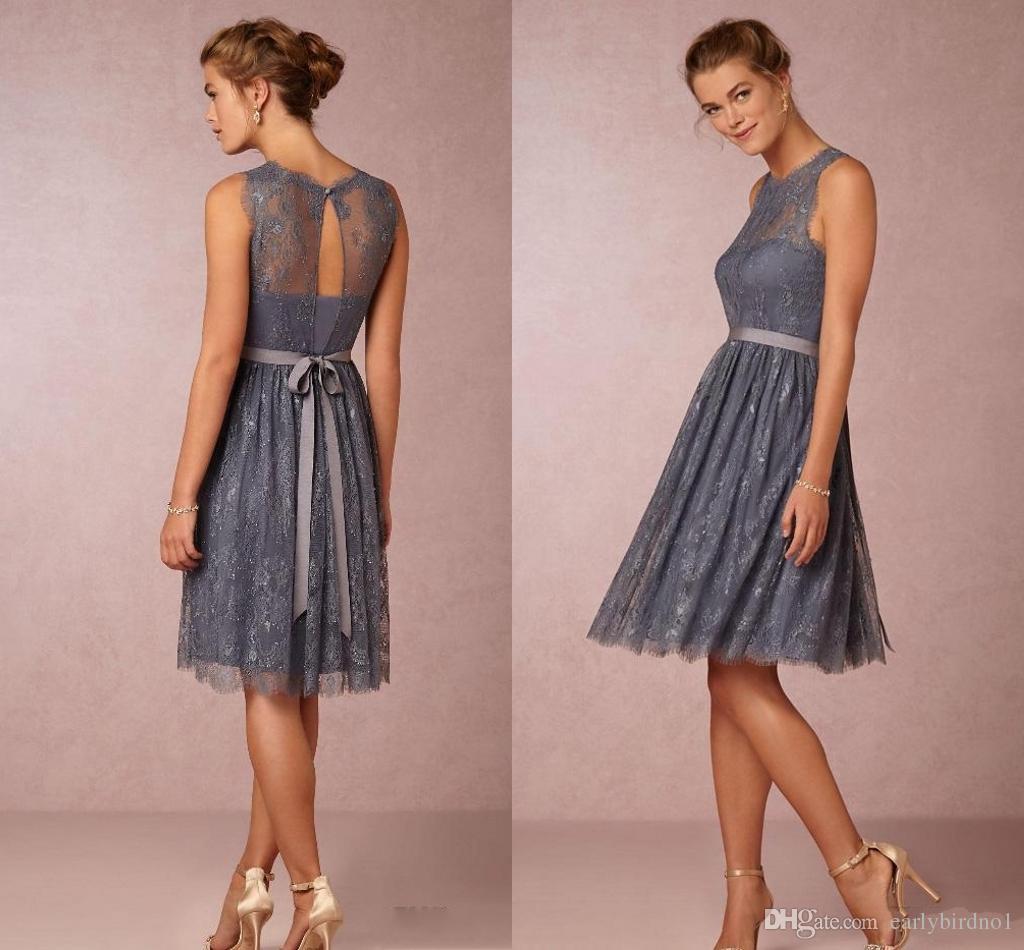 2017 new lace na altura do joelho vestidos de dama de honra júnior a linha de cinza da dama de honra vestidos de festa de casamento do vintage vestidos
