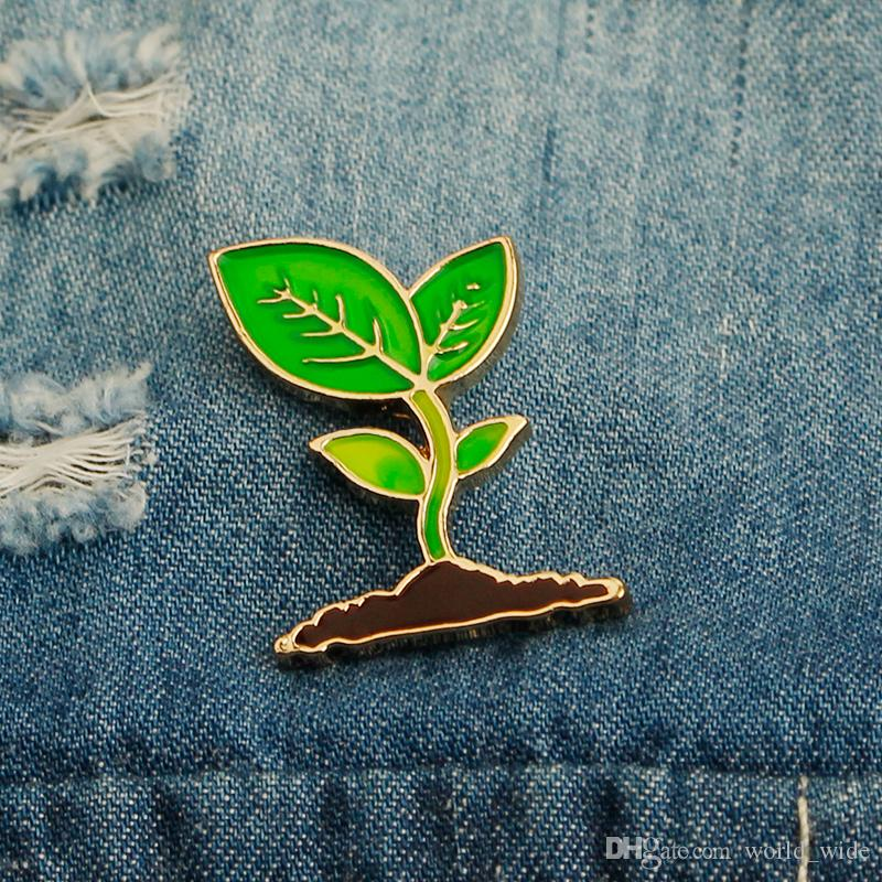 Cartoon Enamel Brooch Lapel Pins Green Leaves Cactus Plant Sprout Budding Shoot Badge Corsage For Clothes Bags Backpacks