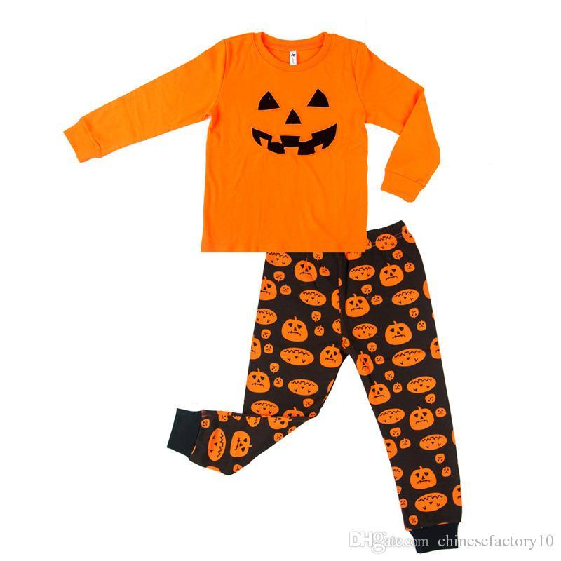 Erkek Kız Turuncu Pijama Setleri Çocuklar için Cadılar Bayramı Kabak Pijama Uzun Kollu Pantolon Giyim Setleri Setleri Çocuk Pamuk Pijama