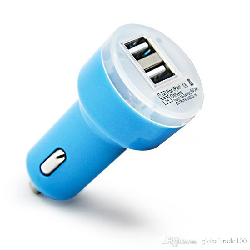 Dual USB Car Chargers 5V 2.1A 1A 2 Port Car Charger For iPhone iPad Cell phones Tablet PC Free DHL