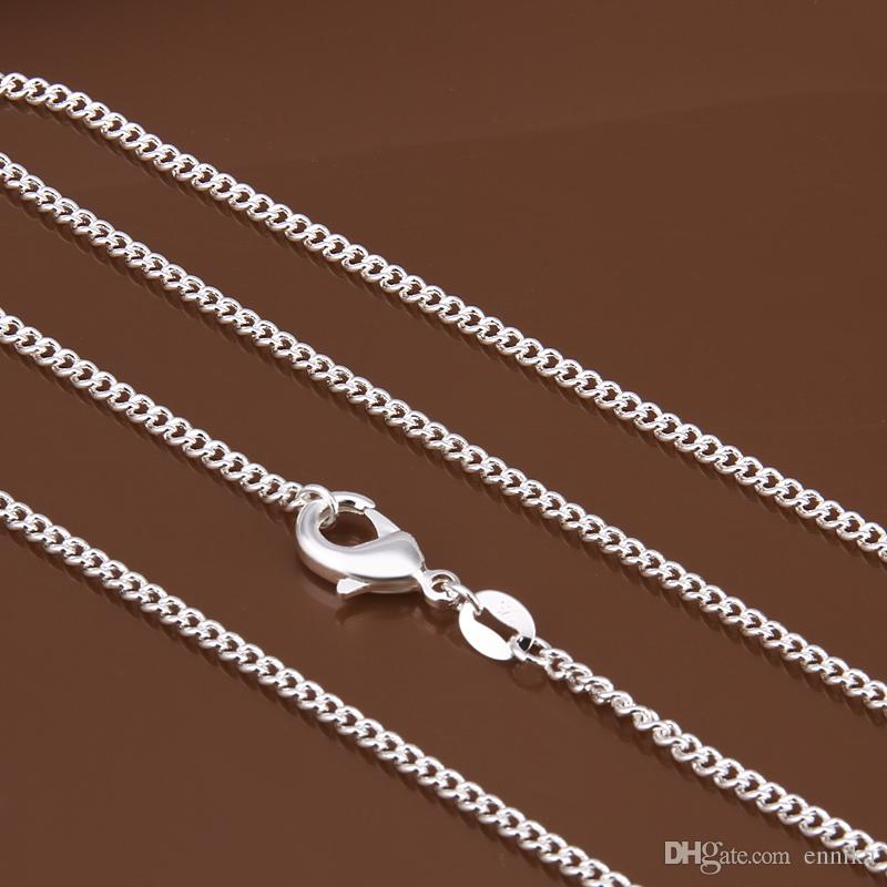 New Arrived Concise 925 Silver Figaro Chains Curb Chain 22inch 2mm , Top Sale Silver Men's Necklaces Jewelry c015