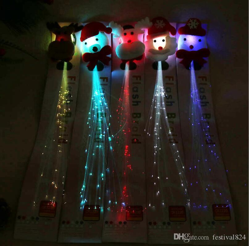 Luminous Light Up LED Santa Claus Hair Extension Flash Braid Party girl Hair Glow by fiber optic For Party Christmas Night Lights Decoration