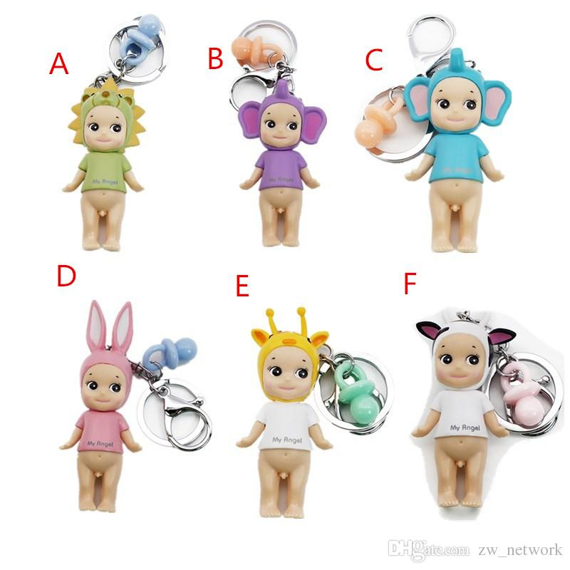 Angle Keychains Supper Cute Big Round Eyes Doll Pendant Keychain For Bag Purse Charm Japanese Doll Fans Product
